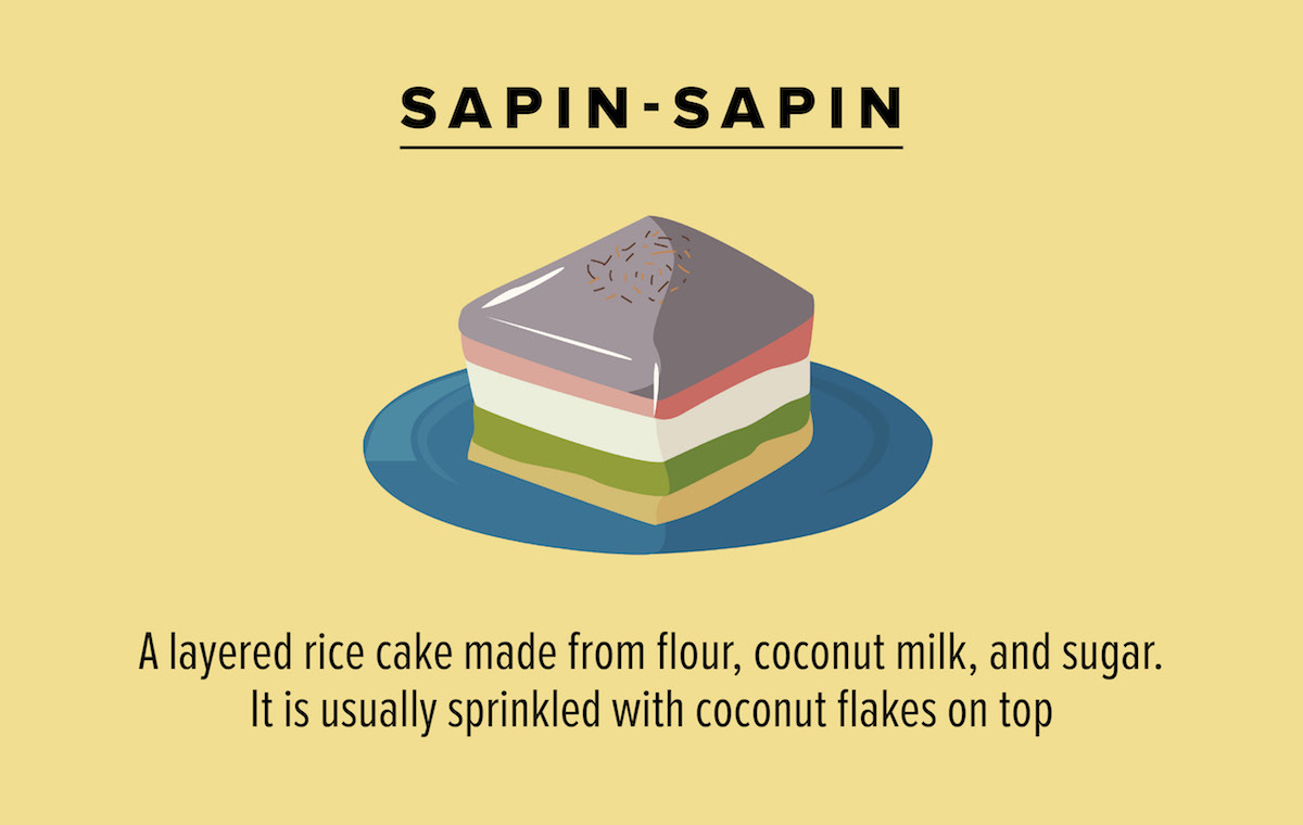 Sapin-sapin A layered rice cake made from flour, coconut milk, and sugar. It is usually sprinkled with coconut flakes on top