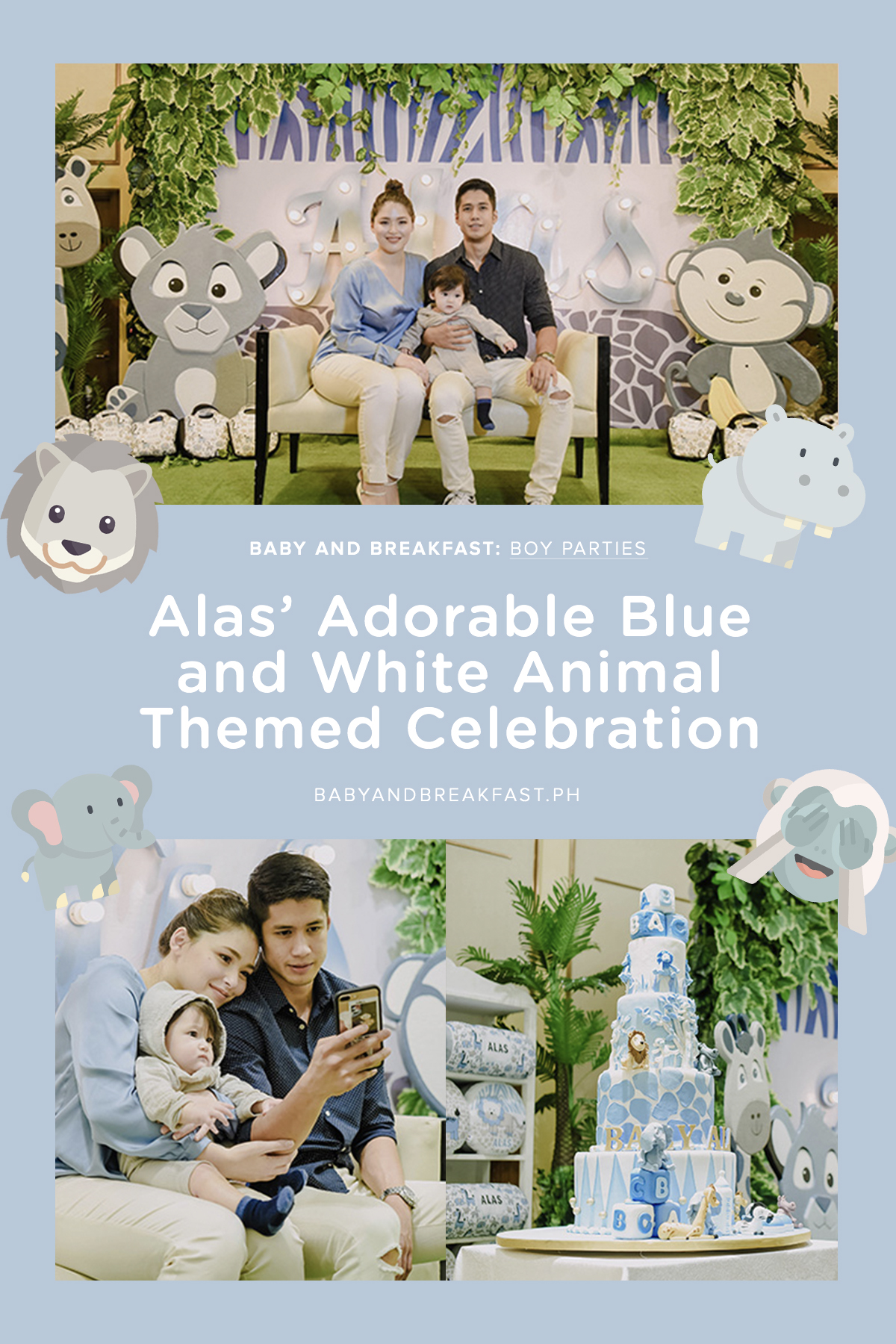 Baby and Breakfast: Boy Parties Alas' Adorable Blue and White Animal Themed Celebration