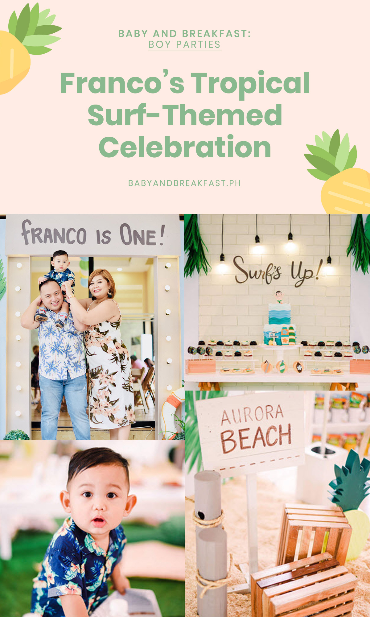 Baby and Breakfast: Boy Parties Franco's Tropical Surf-Themed Celebration