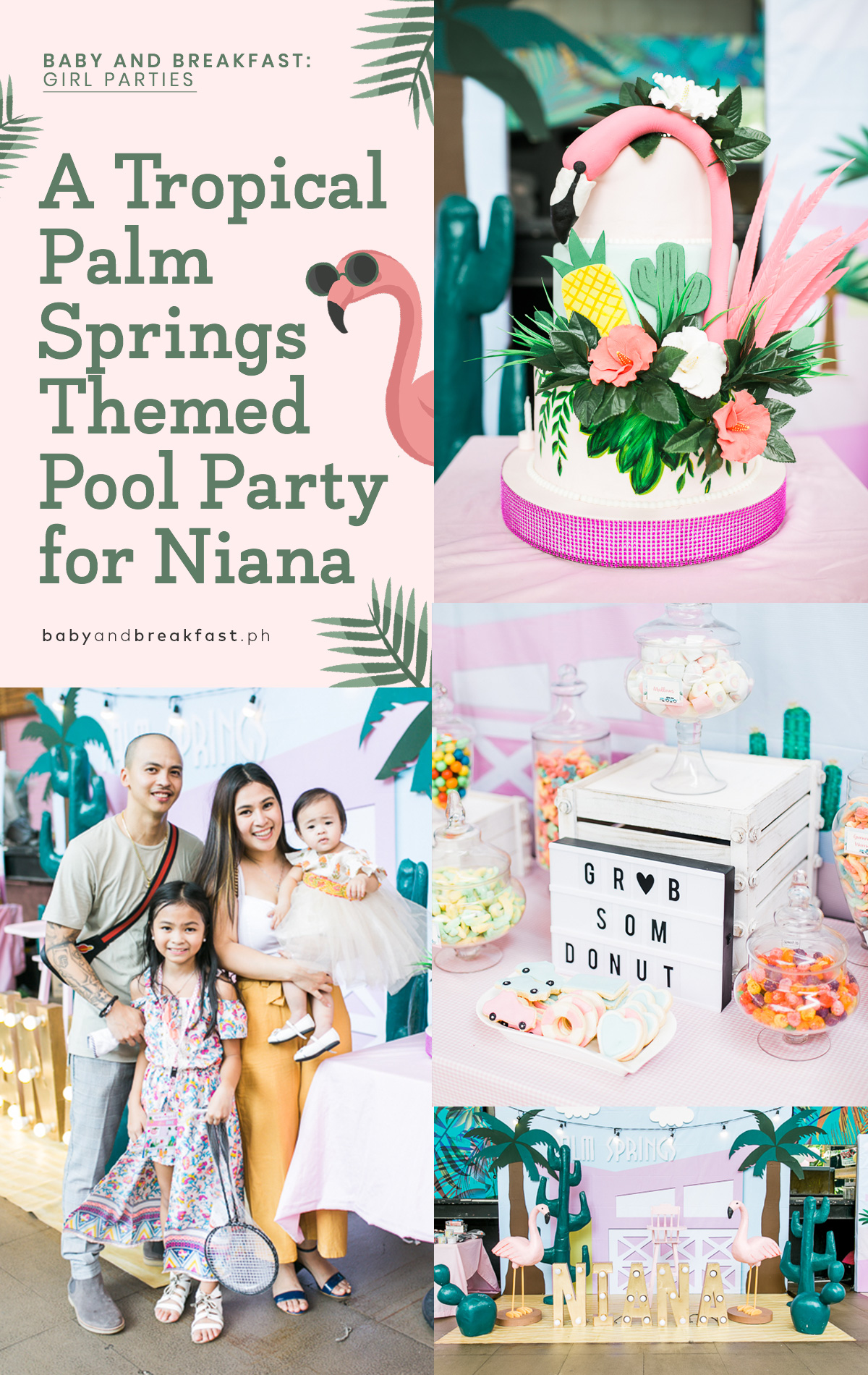 Baby and Breakfast: Girl Parties A Tropical Palm Springs Themed Pool Party for Niana