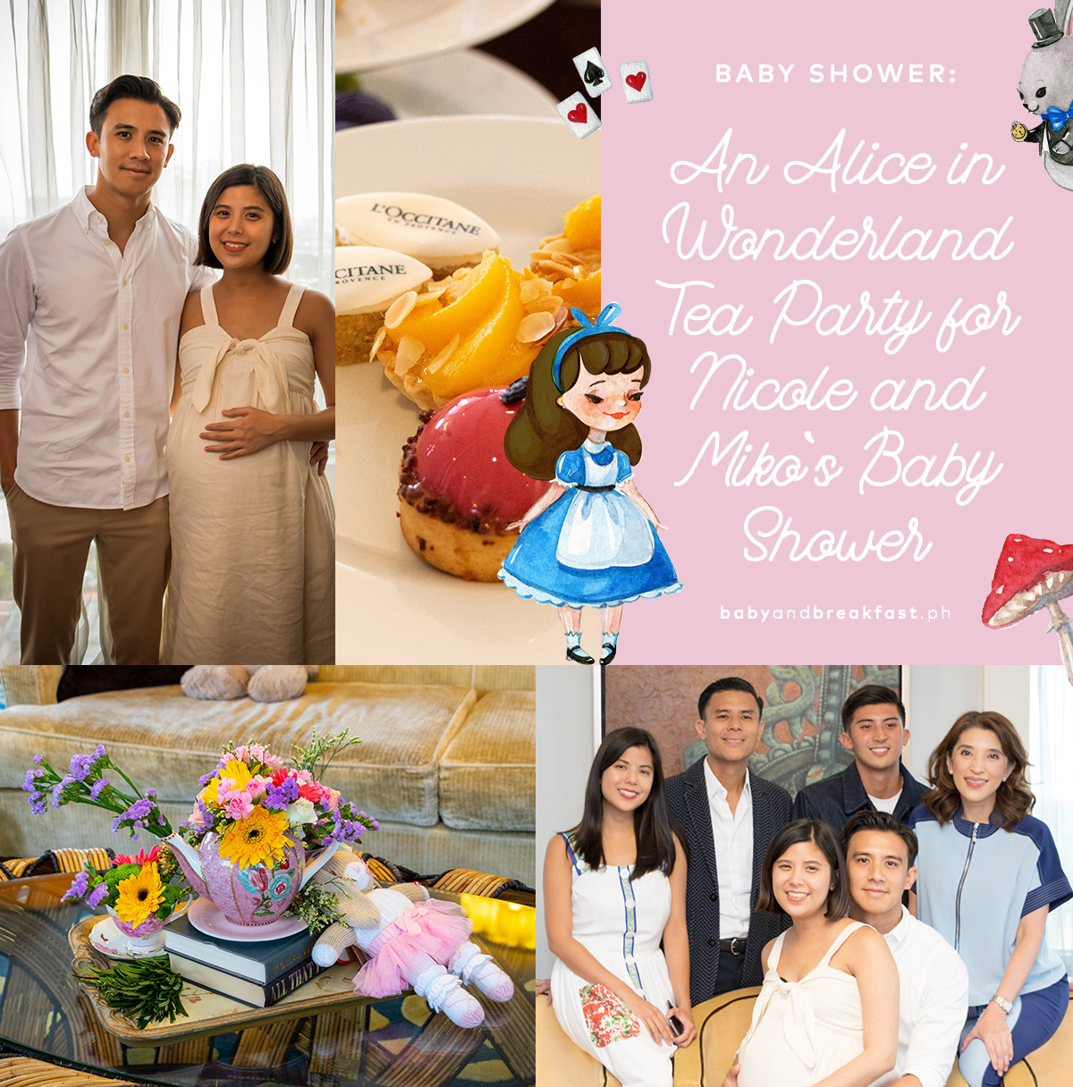 An Alice in Wonderland Tea Party for Nicole and Miko's Baby Shower