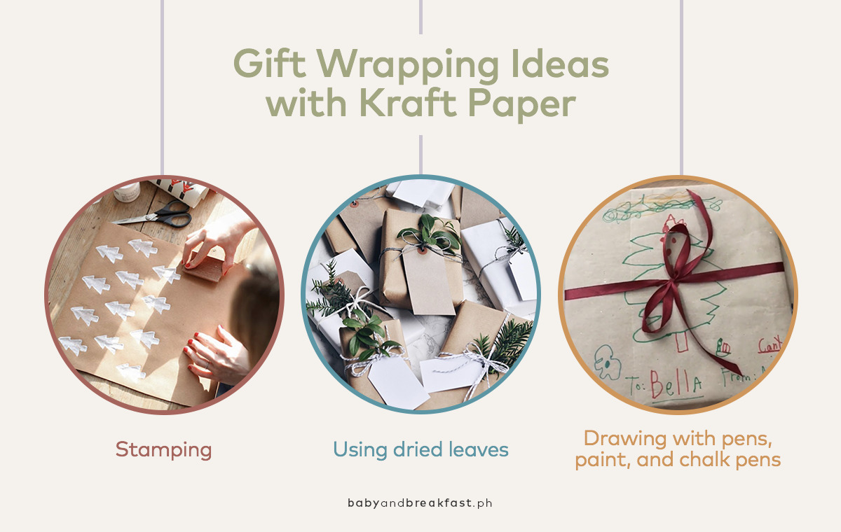 Gift Wrapping Ideas with Kraft Paper: Stamping, Using dried leaves, Drawing with pens, paint, and chalk pens