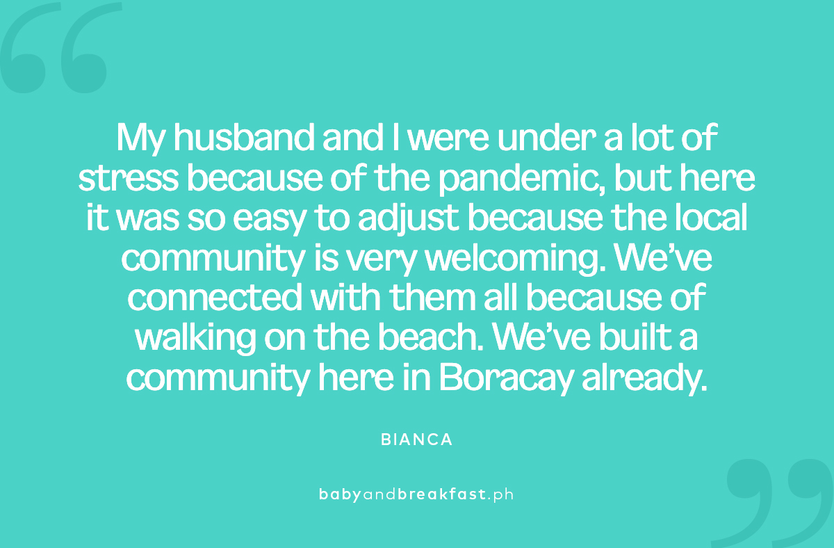 """(Quote for layout) """"My husband and I were under a lot of stress because of the pandemic, but here it was so easy to adjust because the local community is very welcoming. We've connected with them all because of walking on the beach. We've built a community here in Boracay already."""" Bianca"""
